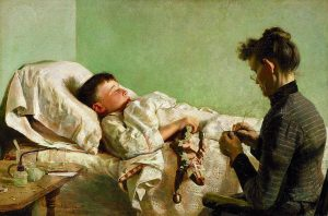 A sick boy lying in bed unable to communicate with the lady beside his bed
