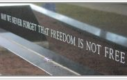 """Text saying """"never forget that freedom is not free:"""""""