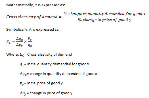 cross value elasticity formula